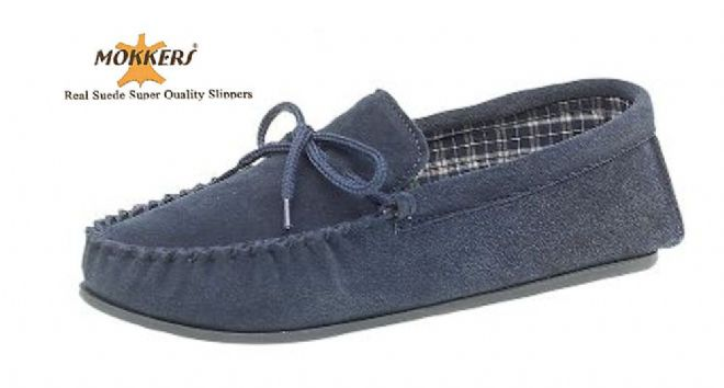 Men's Suede Moccasins with a Hard Sole NAVY up to size 15